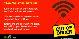 Internet outage, internet down, The Limes offline